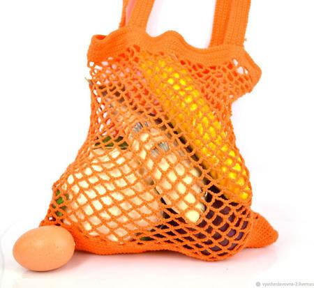 Сумка-авоська, связанная из хлопка, оранжевая ручной работы на заказ