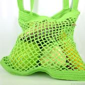 Сумка-авоська, связанная из хлопка, зелёная