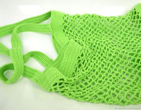 Сумка-авоська, связанная из хлопка, зелёная ручной работы на заказ