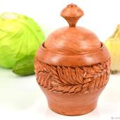 Горшок деревянный резной для сыпучих продуктов