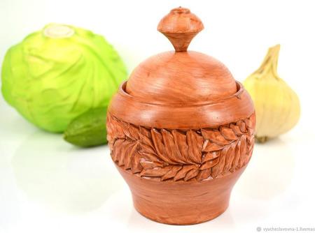 Горшок деревянный резной для сыпучих продуктов ручной работы на заказ