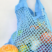 Сумка-авоська, связанная из хлопка, голубая