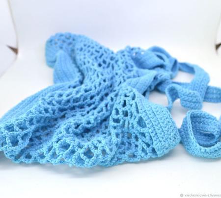 Сумка-авоська, связанная из хлопка, голубая ручной работы на заказ