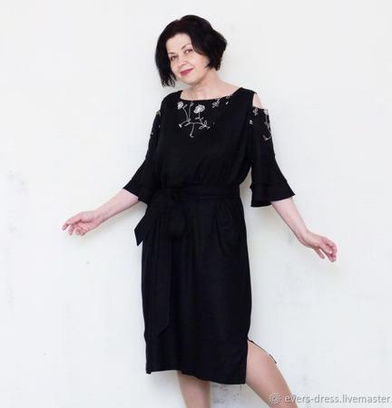 """Платье чёрное с открытыми плечами """"Маргарита"""", вискоза ручной работы на заказ"""