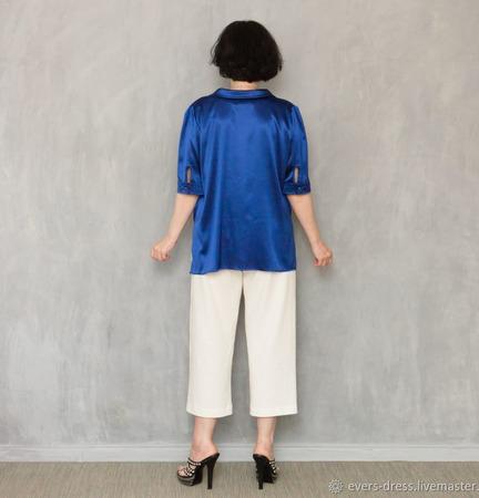 """Блузка из натурального шёлка """"Ультрамарин"""" ручной работы на заказ"""