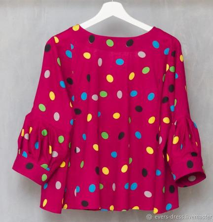 """Блузка розовая, с бантом """"Монпансье"""", хлопок ручной работы на заказ"""