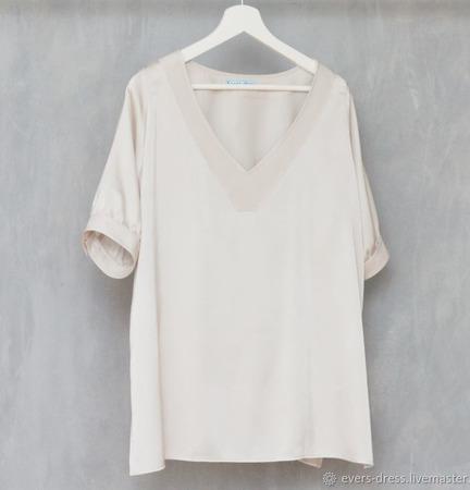 """Блузка из натурального шёлка """"Жемчуг"""" ручной работы на заказ"""