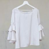 """Блузка белая с воланами """"Лилия"""", натуральный шёлк"""
