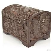 Маленькая деревянная шкатулка-сундучок для украшений, коричневая