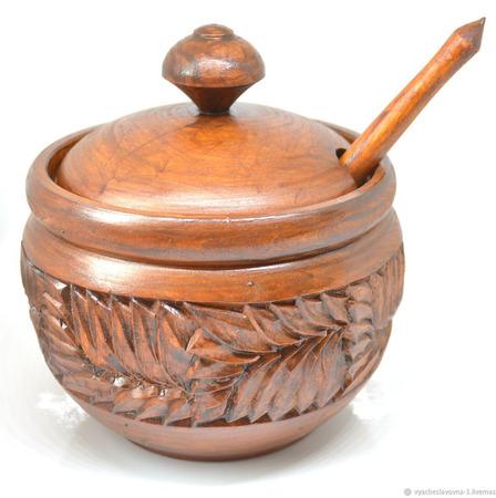 Деревянная резная сахарница с ложкой ручной работы на заказ