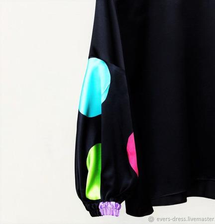 """Блузка из натурального шёлка """"Фонарики"""" ручной работы на заказ"""