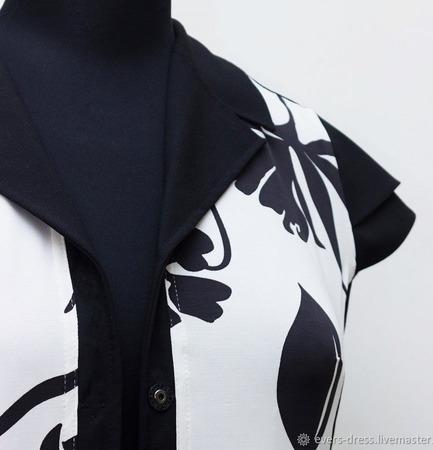 """Платье рубашка миди """"Цветок папоротника"""", вискоза ручной работы на заказ"""