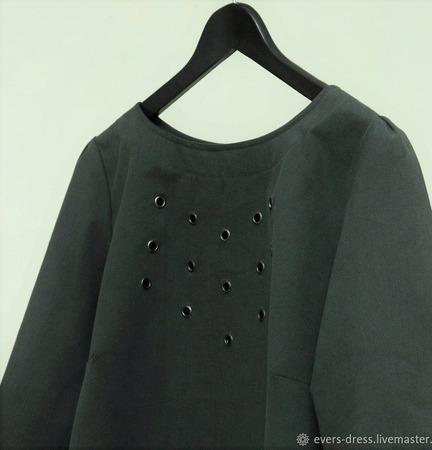 Блузка цвета хаки с люверсами, хлопок ручной работы на заказ