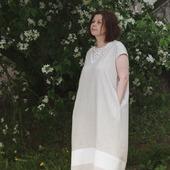 Платье летнее с кружевом Яблоневый цвет, лён