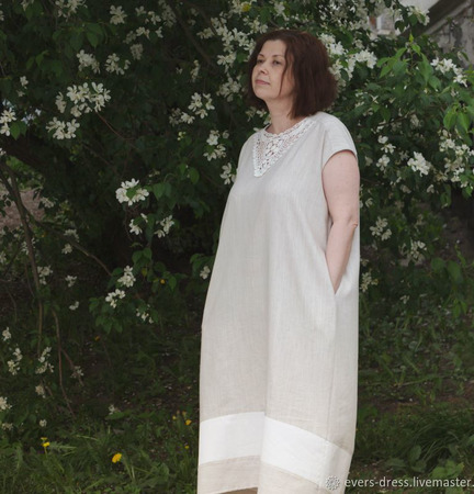 Платье летнее с кружевом Яблоневый цвет, лён ручной работы на заказ