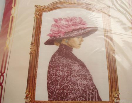 """Набор для вышивки """"Дама в шляпе"""" ручной работы на заказ"""