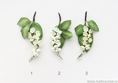 Черемуха, 3 броши. Изящная веточка с белыми цветами ручной работы на заказ