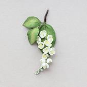 Черемуха, 3 броши. Изящная веточка с белыми цветами