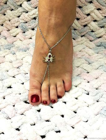 Слейв-браслет на ногу с пауком ручной работы на заказ