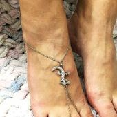 Слейв-браслет на ногу с ящеркой