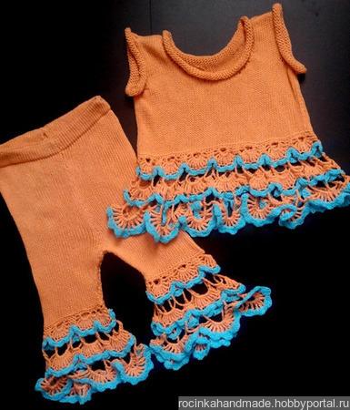 Вязаный летний набор для девочки ручной работы на заказ