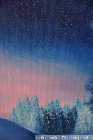 """Картина маслом """"Звездная ночь"""" ручной работы на заказ"""