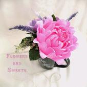 Мини-букет в кружке - пион и розы с конфетами внутри