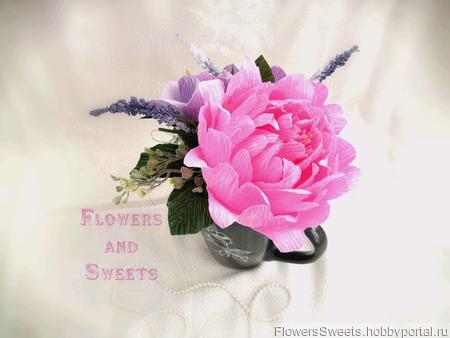 Мини-букет в кружке - пион и розы с конфетами внутри ручной работы на заказ