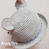 Детская шляпка панамка из рафии с ушками