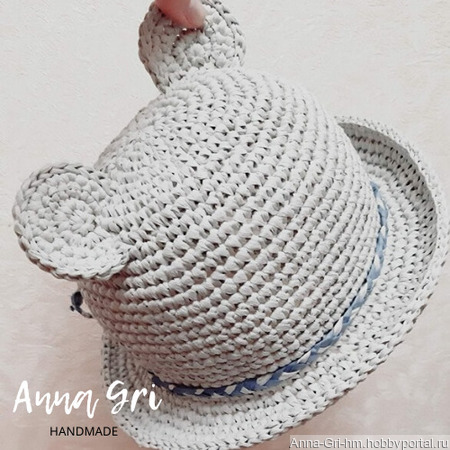 Детская шляпка панамка из рафии с ушками ручной работы на заказ