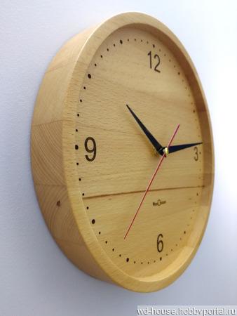 Часы настенные из бука. ЧБ4 ручной работы на заказ