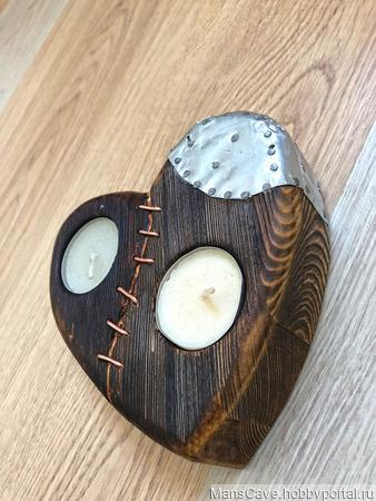 """Подсвечник деревянный """"Любовь, проверенная временем"""" ручной работы на заказ"""