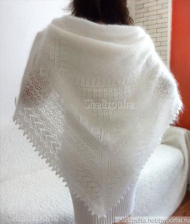 Белый пуховый платок с узором, теплый, 74 ручной работы на заказ