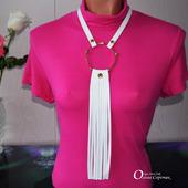 """Стильное колье """"Dress Code White"""" из натуральной кожи"""