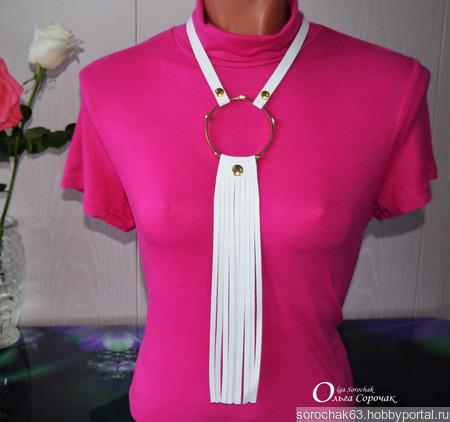 """Стильное колье """"Dress Code White"""" из натуральной кожи ручной работы на заказ"""