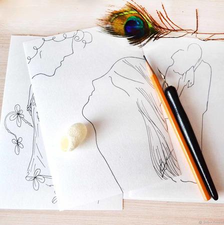 Авторские графические открытки на все случаи жизни ручной работы на заказ
