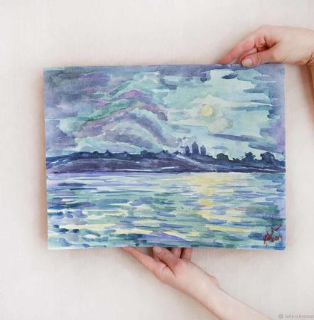 """Картина акварелью """"Луна над старым городом"""" ручной работы на заказ"""