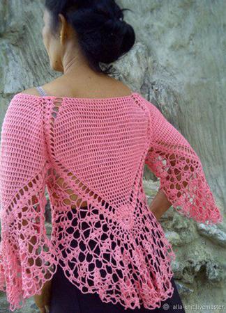 Ажурная блузка вязаная крючком ручной работы на заказ