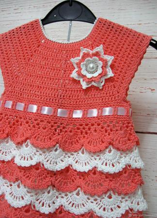 Платье вязаное для девочки ручной работы на заказ