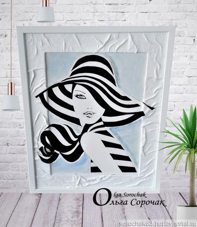 """Картина из кожи """"Марина"""" ручной работы на заказ"""
