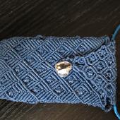 Чехол для сотового из вощеного шнура в технике макраме