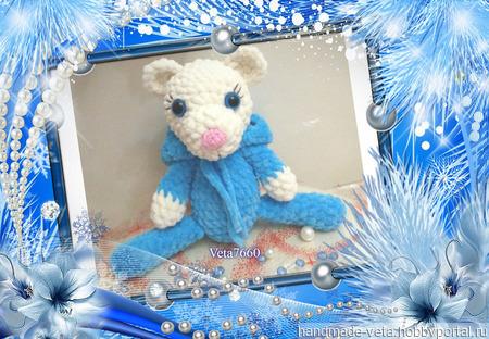 Вязаная плюшевая игрушка Мишка ручной работы на заказ