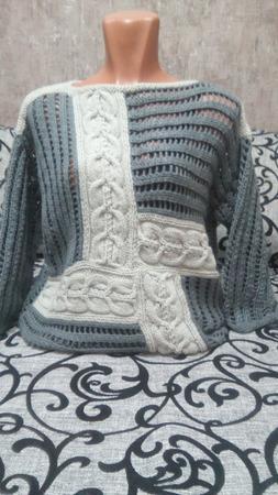 Пуловер в стиле пэчворк ручной работы на заказ
