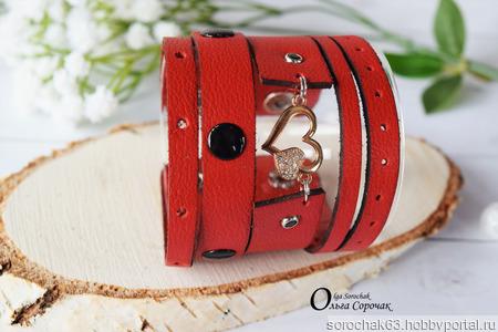 """Браслет """"Red"""" из натуральной кожи ручной работы на заказ"""