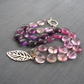 """Бусы """"Lilac rainbow"""" из сиреневых флюоритов и серебра"""