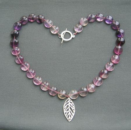 """Бусы """"Lilac rainbow"""" из сиреневых флюоритов и серебра ручной работы на заказ"""