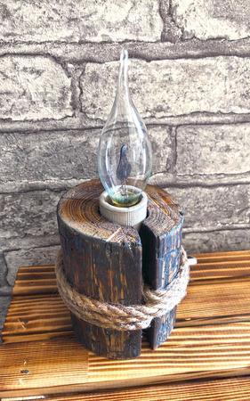 """Настольная лампа """"Пенек"""" в стиле Кантри/Бохо ручной работы на заказ"""