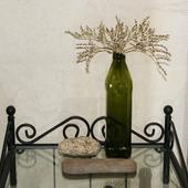 Бутылка оливковая с крышкой и 2 камня для декора