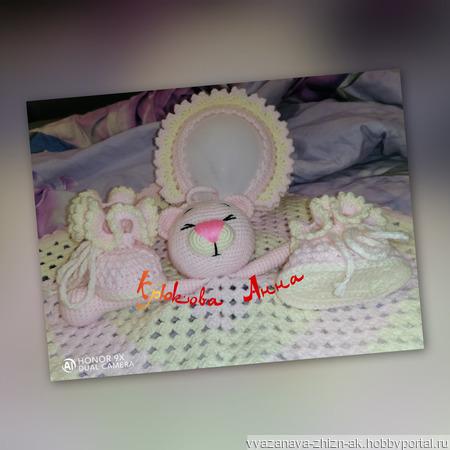 Комплект для новорожденного ''Розовый мишка'' ручной работы на заказ