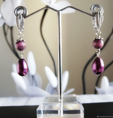 Серьги небольшие красивые под серебро с камнями ручной работы на заказ